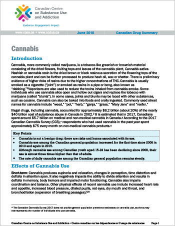 Cannabis (Canadian Drug Summary)