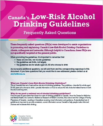 Canada's Low-Risk Alcohol Drinking Guidelines: Frequently Asked Questions