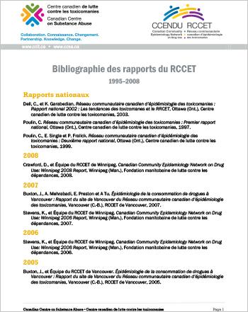 Bibliographie des rapports du RCCET, 1995-2008