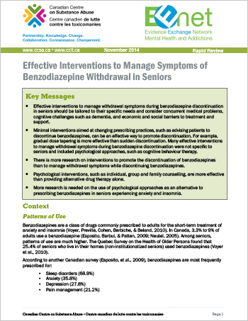 Effective Interventions to Manage Symptoms of Benzodiazepine Withdrawal in Seniors (Rapid Review)