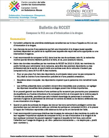Composer le 911 en cas d'intoxication à la drogue (Bulletin du RCCET)