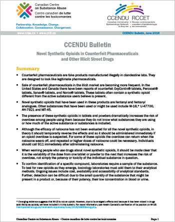Novel Synthetic Opioids in Counterfeit Pharmaceuticals and Other Illicit Street Drugs (CCENDU Bulletin)