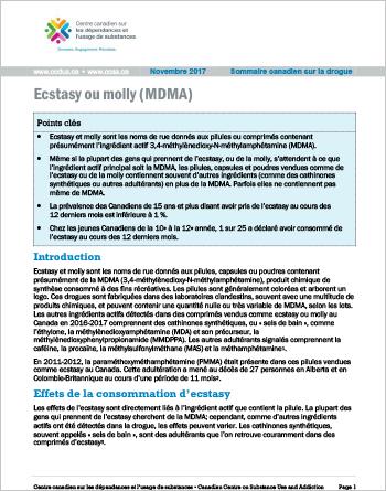Ecstasy ou molly (MDMA) (Sommaire canadien sur la drogue)