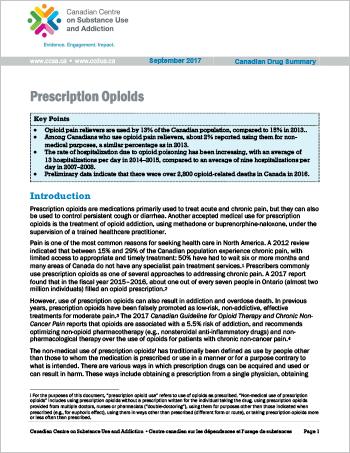 Prescription Opioids (Canadian Drug Summary)