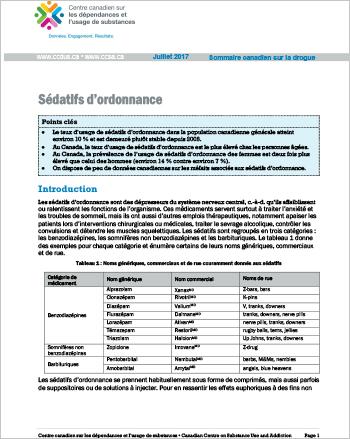 Sédatifs d'ordonnance (Sommaire canadien sur la drogue)
