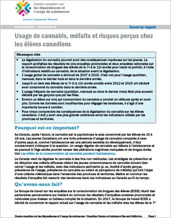 Usage de cannabis, méfaits et risques perçus chez les élèves canadiens (Survol du rapport)