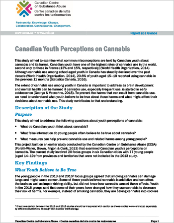 Canadian Youth Perceptions on Cannabis (Report at a Glance)