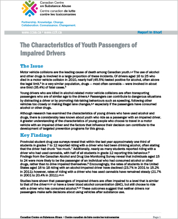 The Characteristics of Youth Passengers of Impaired Drivers (Report in Short)