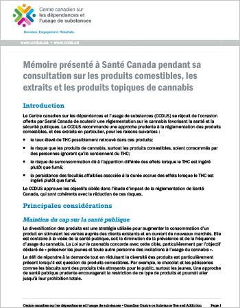 Mémoire présenté à Santé Canada pendant sa consultation sur les produits comestibles, les extraits et les produits topiques de cannabis