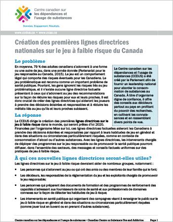 Création des premières lignes directrices nationales sur le jeu à faible risque du Canada