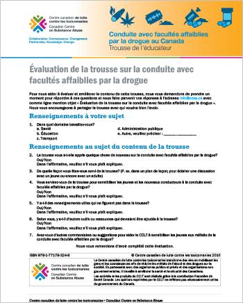 Évaluation de la trousse sur la conduite avec facultés affaiblies par la drogue