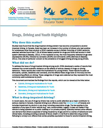 Drugs, Driving and Youth Highlights