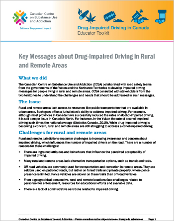 Key Messages about Drug-Impaired Driving in Rural