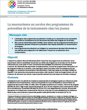 La neuroscience au service des programmes de prévention de la toxicomanie chez les jeunes (Résumé thématique)
