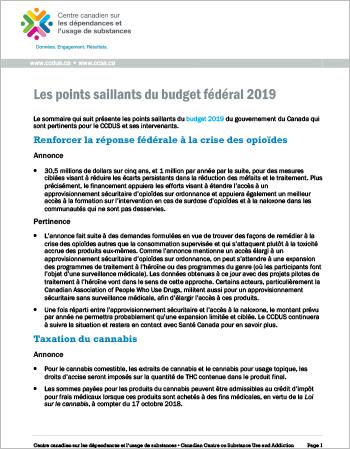 Les points saillants du budget fédéral 2019