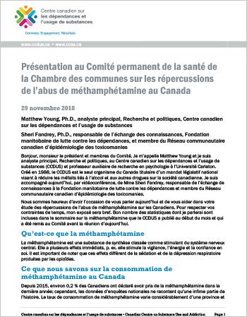 Présentation au Comité permanent de la santé de la Chambre des communes sur les répercussions de l'abus de méthamphétamine au Canada