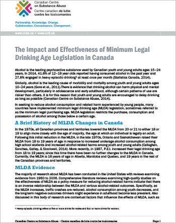 The Impact and Effectiveness of Minimum Legal Drinking Age Legislation in Canada