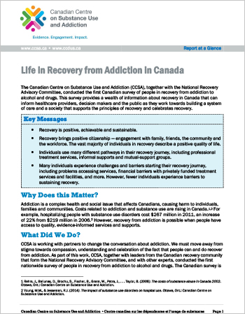 Life in Recovery from Addiction in Canada (Report at a Glance)