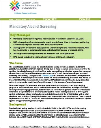 Mandatory Alcohol Screening (Policy Brief)