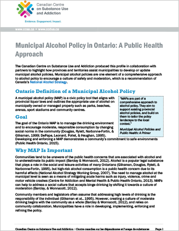 Municipal Alcohol Policy in Ontario: A Public Health Approach