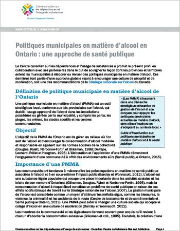 Politiques municipales en matière d'alcool en Ontario : une approche de santé publique
