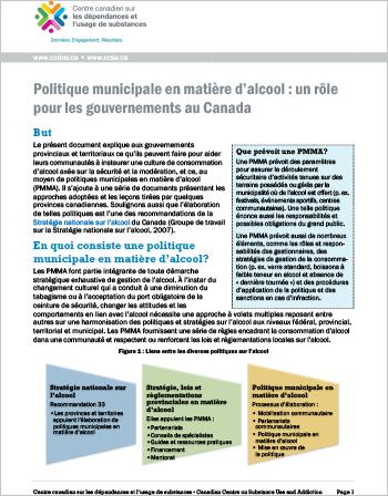 Politique municipale en matière d'alcool : un rôle pour les gouvernements au Canada