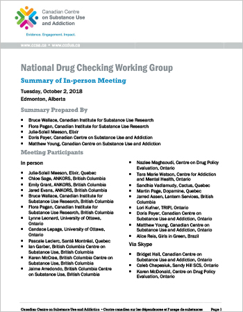 National Drug Checking Working Group: Summary of In-person Meeting