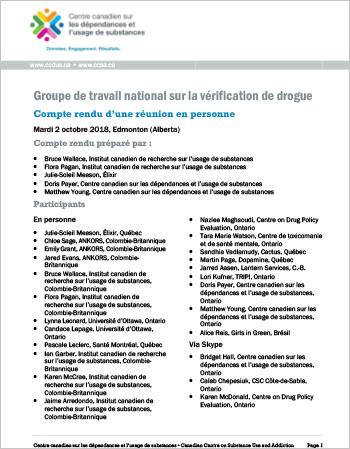 Groupe de travail national sur la vérification de drogue : Compte rendu d'une réunion en personne