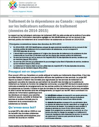 Traitement de la dépendance au Canada : rapport sur les indicateurs nationaux de traitement : Données de 2014-2015 (Survol du rapport)