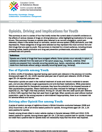 Opioids, Driving and Implications for Youth (Topic Summary)