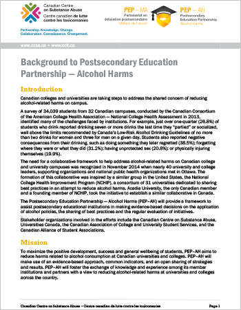 Reducing the Harms Related to Alcohol on Canadian Campuses: PEP–AH Strategy Background
