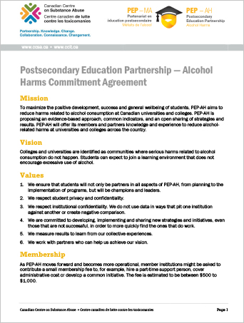 Postsecondary Education Partnership — Alcohol Harms Commitment Agreement