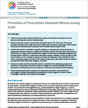 Prevention of Prescription Stimulant Misuse among Youth (Topic Summary)