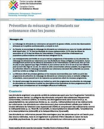 Prévention du mésusage de stimulants sur ordonnance chez les jeunes (Résumé thématique)