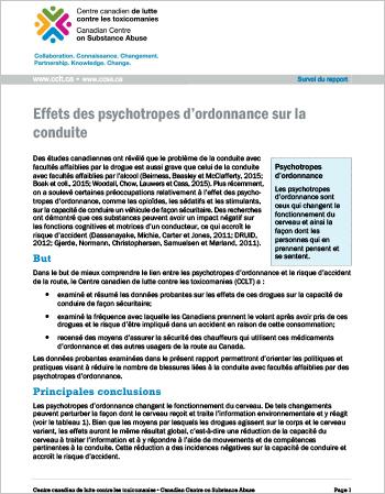 Effets des psychotropes d'ordonnance sur la conduite (Survol du rapport)