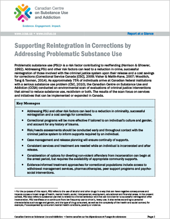Supporting Reintegration in Corrections by Addressing Problematic Substance Use