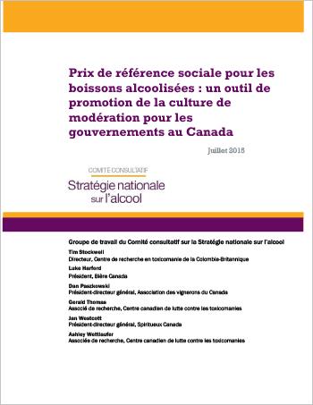 Prix de référence sociale pour les boissons alcoolisées : Un outil de promotion de la culture de modération pour les gouvernements au Canada