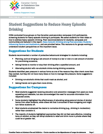 Student Suggestions to Reduce Heavy Episodic Drinking (Tool)