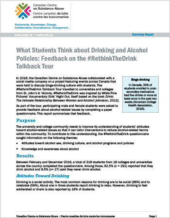 What Students Think about Drinking and Alcohol Policies: Feedback on the #RethinkTheDrink Talkback Tour