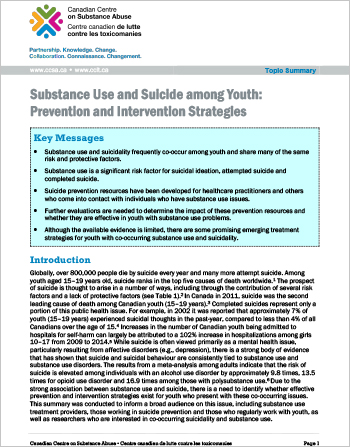Substance Use and Suicide among Youth: Prevention and Intervention Strategies (Topic Summary)