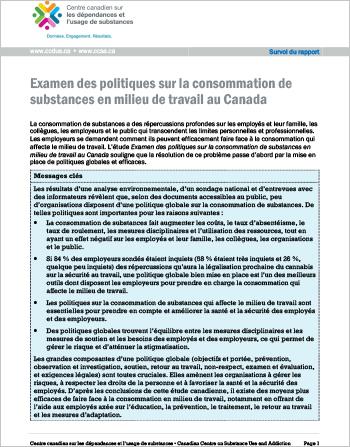 Examen des politiques sur la consommation de substances en milieu de travail au Canada (Survol du rapport)