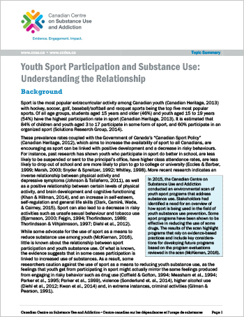 Youth Sport Participation and Substance Use: Understanding the Relationship