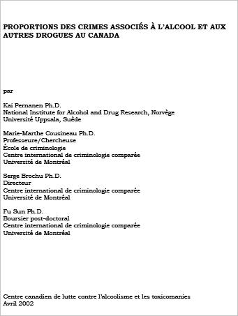 Proportions des crimes associés à lalcool et aux autres drogues au Canada