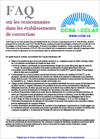 FAQ sur les toxicomanies dans les établissements de correction