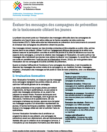 Évaluer les messages des campagnes de prévention de la toxicomanie ciblant les jeunes