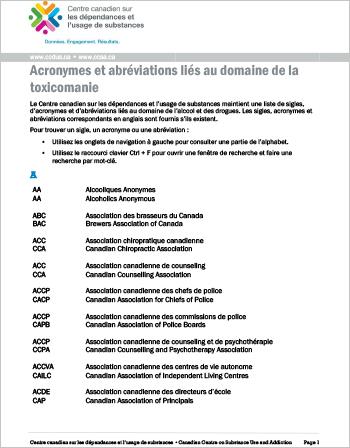 Acronymes et abréviations liés au domaine de la toxicomanie