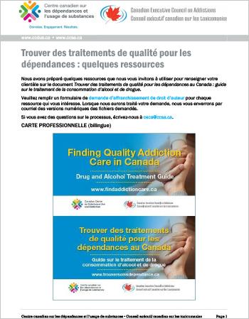 Trouver des traitements de qualité pour les dépendances : quelques ressources