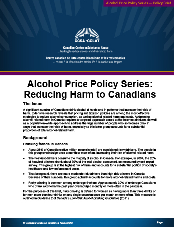 Reducing Harm to Canadians (Alcohol Price Policy Series)