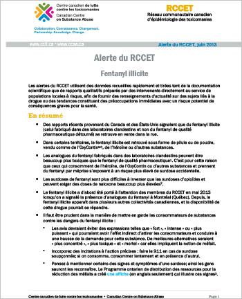 Fentanyl illicite (Alerte du RCCET)