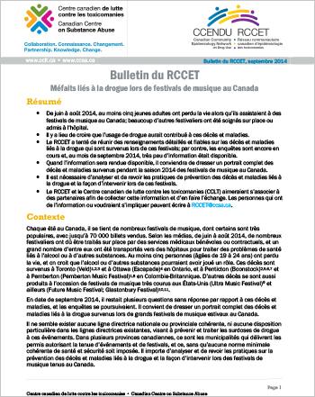 Méfaits liés à la drogue lors de festivals de musique au Canada, Juin à Août 2014 (Bulletin du RCCET)